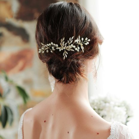 Hot selling coating alloy leaf handmade simple bridal comb insert comb wholesale NHHS255958's discount tags
