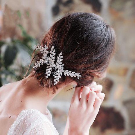 Coréen oeil de cheval strass insérer peigne à la main feuille peigne à cheveux bijoux de mariée en gros NHHS255955's discount tags