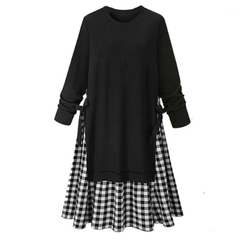 new plus size women's sweater stitching plaid long-sleeved round neck dress  NHWA256530