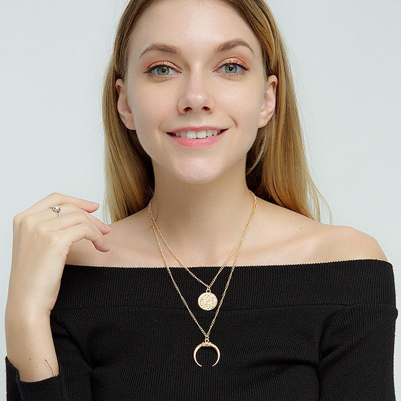 New fashion trendy  alloy exaggerated multi-layer moon disc pendant women's necklace NHRN256466