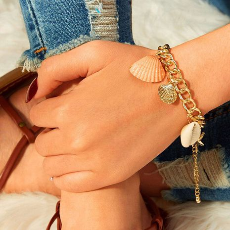 fashion ladies natural beach style color shell gold-plated bracelet wholesale NHRN256467's discount tags