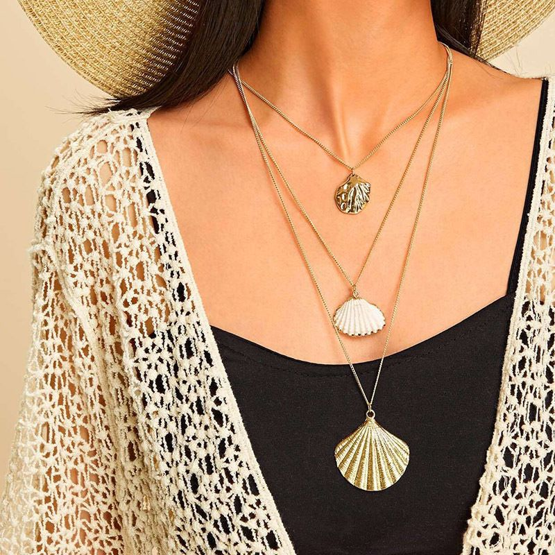 new fashion bohemian style natural shell gold pendant multilayer womens necklace NHRN256469