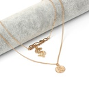 Golden Beauty Head Dollar Sign English Letter Multilayer Clavicle Chain Necklace  NHRN256479