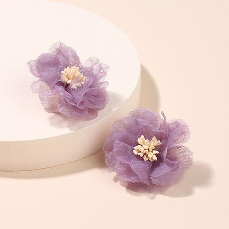 Corée tridimensionnelle maille mousseline de soie fleur rétro style port violet boucles d'oreilles en gros NHRN256484's discount tags