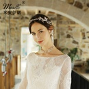 Fashion bridal jewelry alloy beaded flower hairband earring set NHHS256497