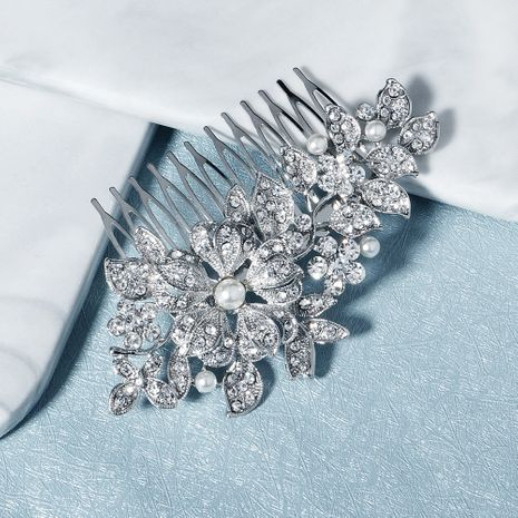 Fashion retro alloy flower diamond insert comb highlight pearl plate hair comb NHHS256508's discount tags