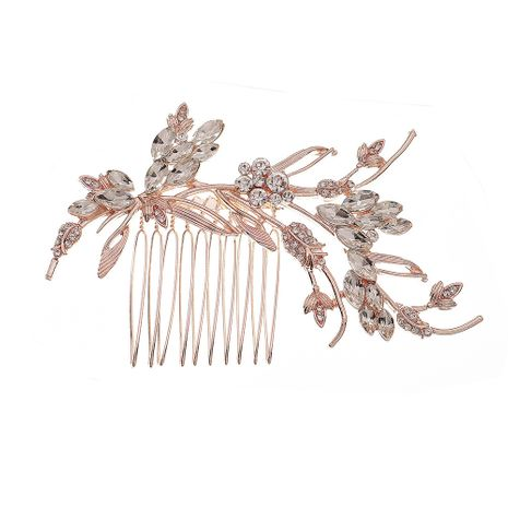 Fashion rose gold branches diamond-studded high-end hair comb wholesale NHHS256509's discount tags