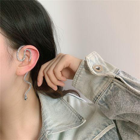 clip d'oreille en forme de serpent rétro cool crochet d'oreille rond noir foncé en gros NHYQ256540's discount tags