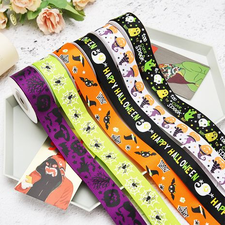 New Halloween Ribbon 1cm Holiday Decoration Small Roll Ribbon Jewelry Gift Box DIY Hair Accessories Thread Ribbon NHDN256557's discount tags
