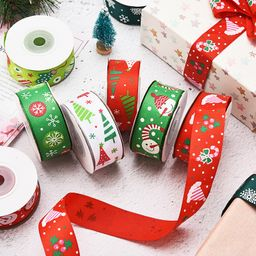 2.5cm Christmas Gift Wrapping Bow Knot Small Roll Snowflake Decoration Ribbon Rib Ribbon Set  NHDN256556