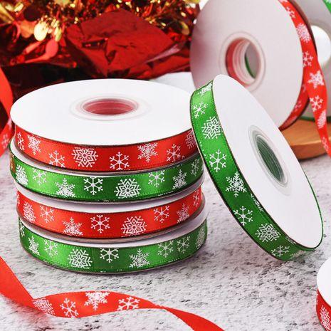 Ruban de Noël 1 cm ruban de flocon de neige rouge et vert Ruban d'emballage de petit rouleau de Noël en gros NHDN256558's discount tags