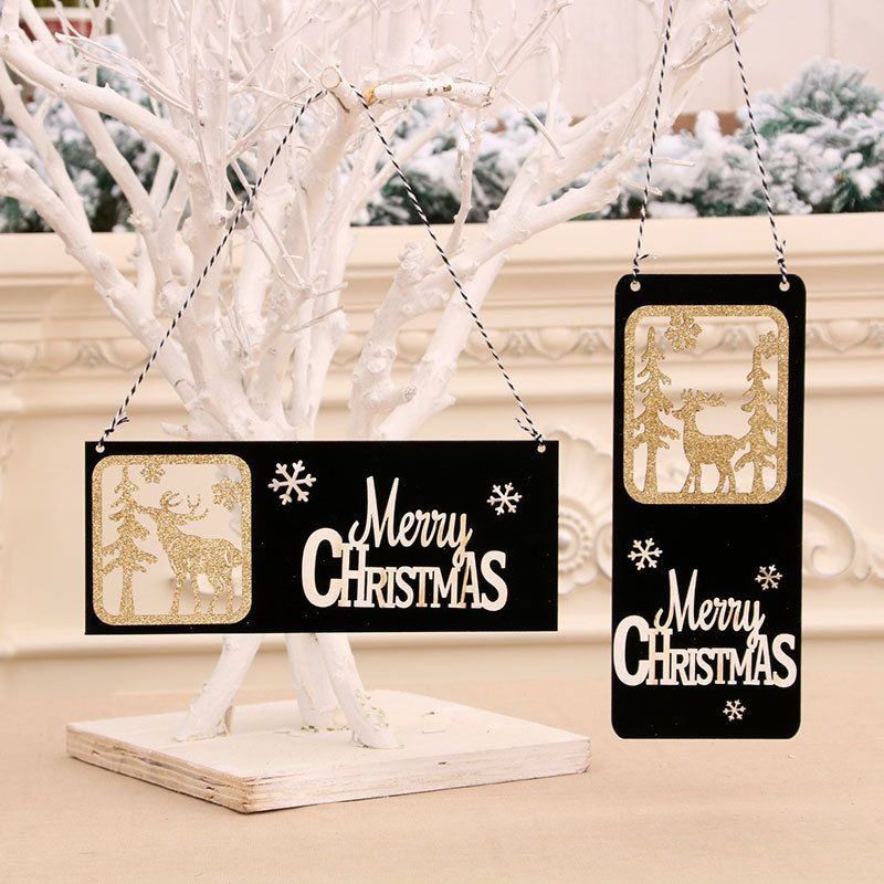 new black gold christmas wooden threedimensional door hanging welcome hollow card  wholesale NHMV256587