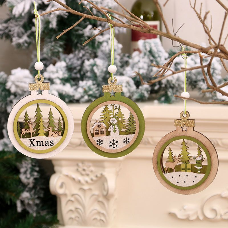 hollow wooden three-dimensional Christmas tree pendant decoration supplies  NHMV256594