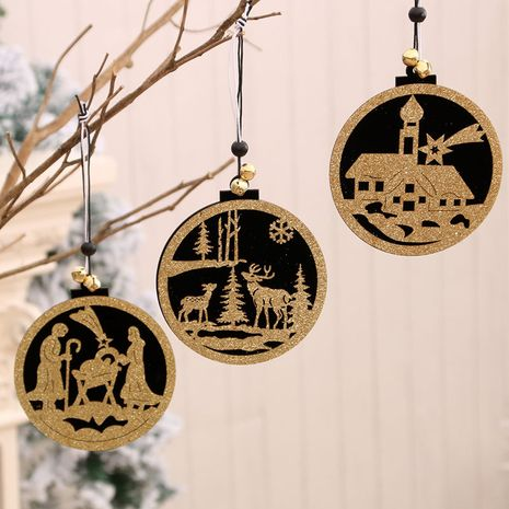 Fashion wooden hollow three-dimensional small pendant Christmas decorations NHMV256602's discount tags