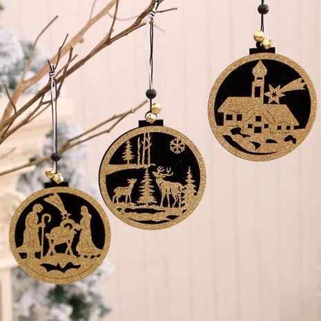 Décorations de Noël pendentif en trois dimensions creux en bois de mode NHMV256602's discount tags