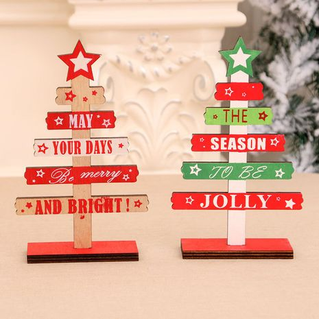 Christmas decorations wooden DIY mini English alphabet Christmas tree desktop office decorations NHMV256605's discount tags