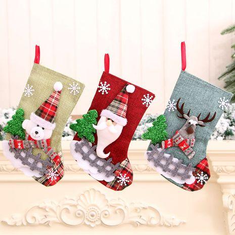 Nouvelles chaussettes de Noël moyennes en lin Chaussettes d'ornements de Noël du père Noël NHMV256612's discount tags