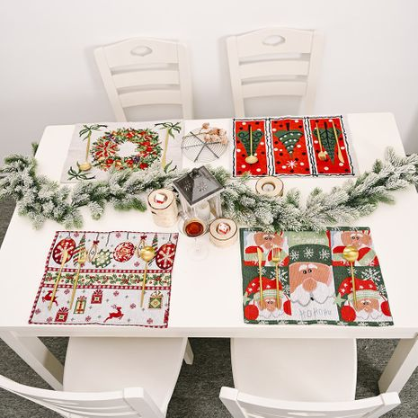 New Christmas Home Decorations Knitted Cloth Placemats Knitted Table Mats Tablecloths  NHMV256613's discount tags
