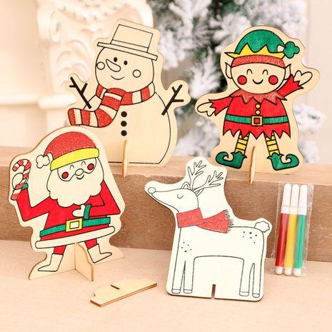 Noël décoration en bois dessin maternelle bricolage dessin à la main puzzle jouets pour enfants petits cadeaux NHMV256614's discount tags