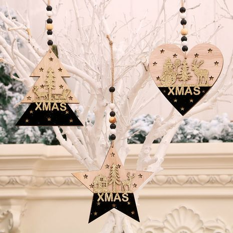 Christmas tree black gold wooden three-dimensional pendant wholesale NHMV256615's discount tags