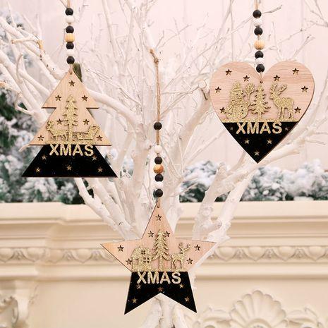 Pendentif en trois dimensions en bois de sapin de Noël or noir en gros NHMV256615's discount tags