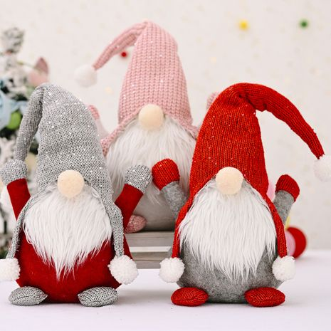 New Christmas decorations forest old man knitted hat doll faceless doll Santa Claus decoration NHHB256625's discount tags