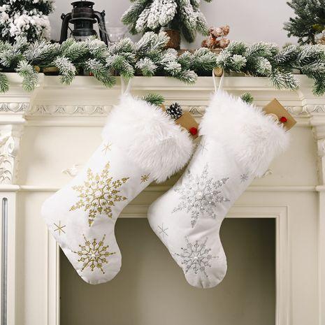 Christmas Decoration Flannel Pearl Snowflake Christmas Socks  NHHB256626's discount tags