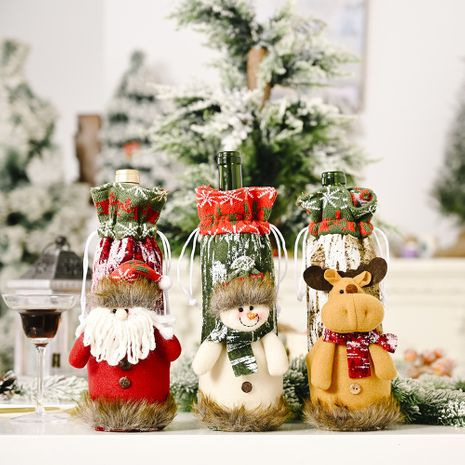 Christmas Decoration Knitted Imitation Bark Wine Bottle Cover deccoration NHHB256639's discount tags