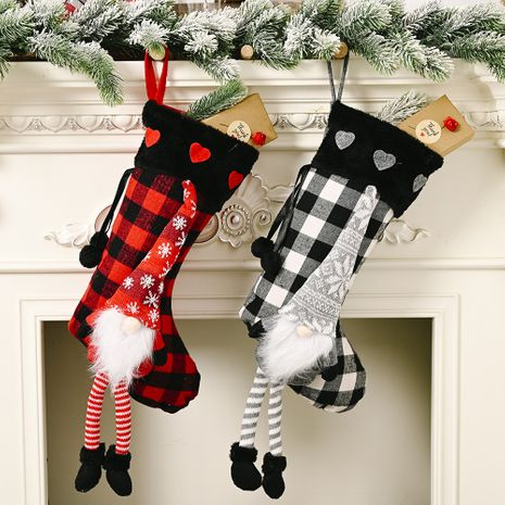 Christmas red love fluff hanging legs lattice Christmas socks creative decoration NHHB256641's discount tags
