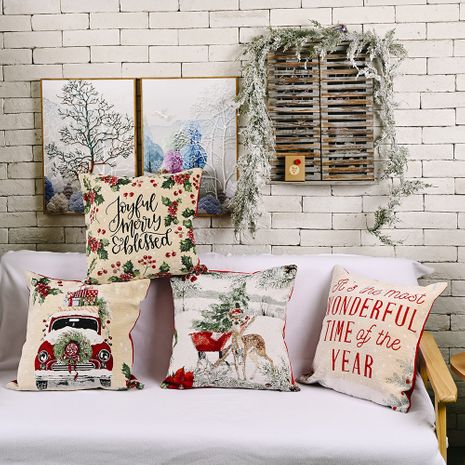 New Christmas decorations imitation knitted pillowcase wholesale NHHB256642's discount tags
