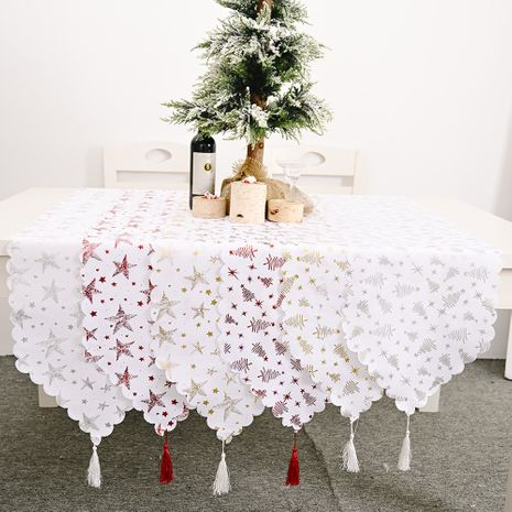 Christmas decorations bronzing white table runner creative new table runner bronzing tablecloth NHHB256645's discount tags