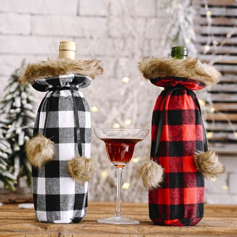Christmas celebration supplies pompoms lattice wine bottle cover creative wine cover NHHB256648's discount tags