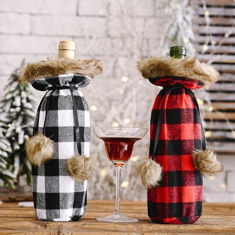 Fournitures de fête de Noël Couvercle de bouteille de vin en treillis pompons Couverture de vin créative NHHB256648's discount tags