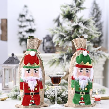 Christmas Ornaments Walnut Soldier Wine Bottle Holder Wine Bottle Decoration NHHB256655's discount tags