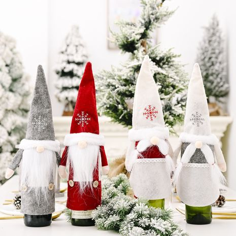 Christmas Ornament Snow Hat Forest Old Man Wine Set Faceless Doll  NHHB256656's discount tags