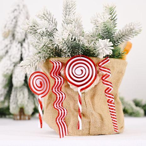 Nouvelles décorations de Noël créatif pendentif de bonbons rouges et blancs sucette en plastique suspendus pièce de simulation bonbons NHHB256657's discount tags