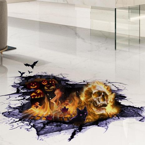 New Halloween Theme Series 3D Floor Stickers Flame Skull Mall Floor Painting  NHAF256666's discount tags