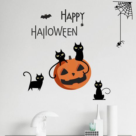 Halloween Theme Series Black Cat Pumpkin Spider Decoration Wall Sticker  NHAF256672's discount tags