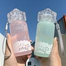 Tasse  eau en verre avec poigne portable corenne filles dentelle impression tasse deau de sport de couleur pure NHtn256698