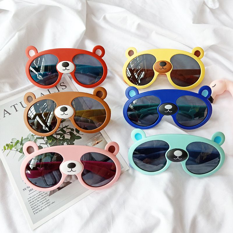 Children cartoon sunglasses brown bear big silicone sunglasses NHBA256727