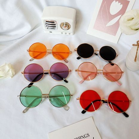 Retro Color Lens Children Sunglasses Anti-UV Glasses NHBA256734's discount tags