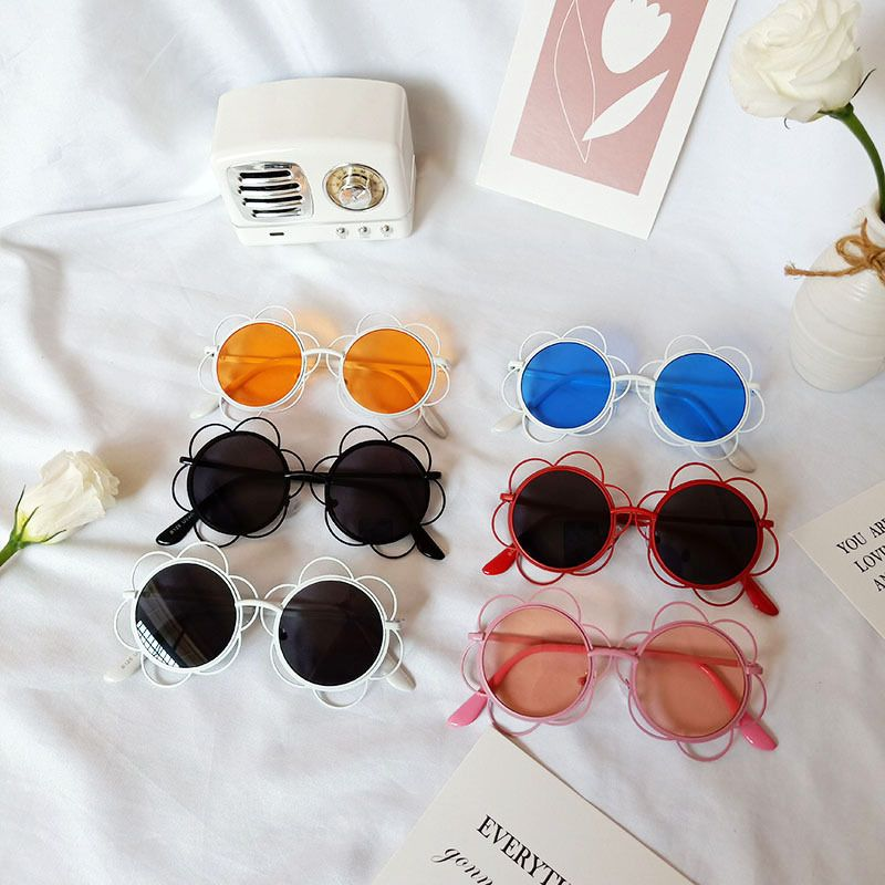 Cute flower shape glasses sunflower round childrens sunglasses  NHBA256735