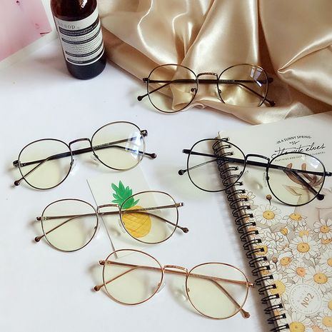 Korean literary round glasses frame myopia frame retro small flat glass wholesale NHBA256748's discount tags