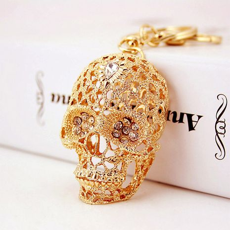 Korean diamond-studded crystal skull metal pendant men's car keychain  NHAK256791's discount tags