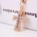 Fashion New Car Accessories Color Diamond Cross KeyChain  NHAK256797