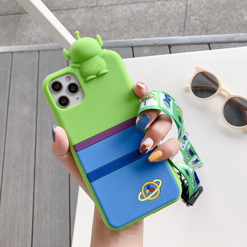 Cute cartoon mobile phone case for iphone 11ProMax silicone anti-drop lanyard wholesale NHFI256835