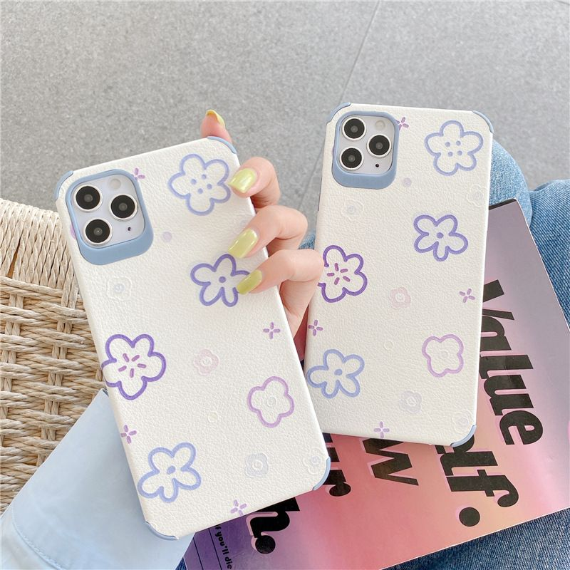 purple flower mobile phone case for iPhone 8p se2 silicone case wholesale NHFI256836