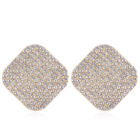 Boucles d'oreilles carrées en diamant flash en métal de mode en gros NHSC256883's discount tags