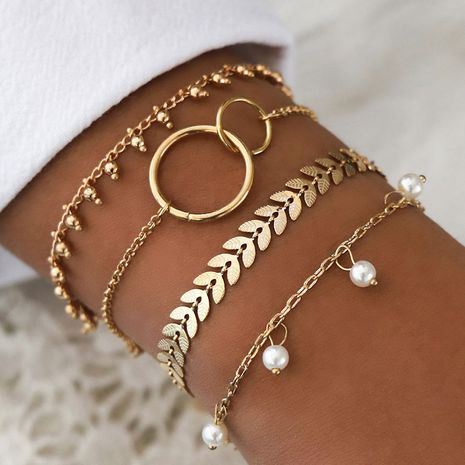 metal simple gold and white bead four-piece combination bracelet wholesale  NHSC256874's discount tags