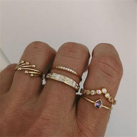Fashion ring creative irregular geometric zircon ring set NHBQ256870's discount tags